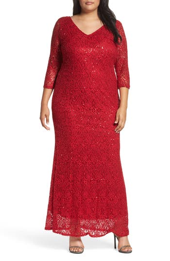 Plus Size Marina Sequin Lace A-Line Gown, Red