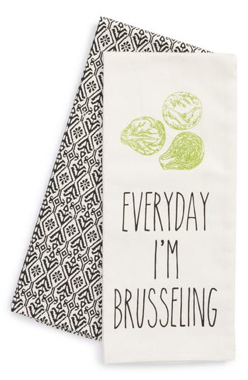 Levtex Brusseling Set Of 2 Dish Towels, Size One Size - Ivory