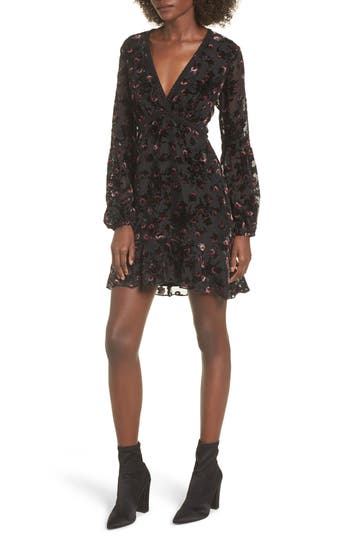 Wayf Brayden Embroidered Minidress, Black