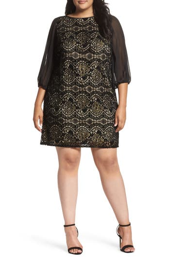 Plus Size Adrianna Papell Flocked Lace Shift Dress, Black