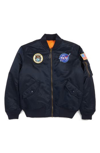 Boys Alpha Industries Ma1 Nasa Flight Jacket Size S  8  Blue