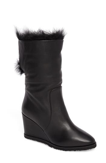 Taryn Rose Massima Genuine Shearling Wedge Boot, Black