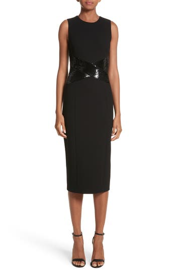 Michael Kors Sequined Stretch Boucle Crepe Sheath, Black