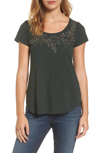 Lucky Brand Embroidered Flower Tee, Green