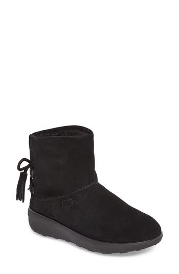 Fitflop Mukluk Short Boot With Genuine Shearling Lining, Black