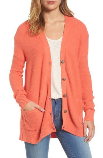 Women's Caslon Relaxed Boyfriend Cardigan, Size X-Small - Coral