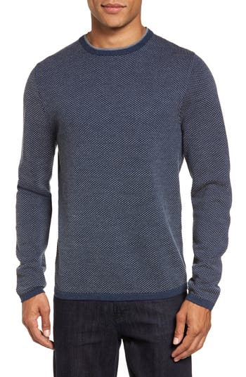 Big & Tall Nordstrom Shop Textured Merino Wool Sweater, Blue