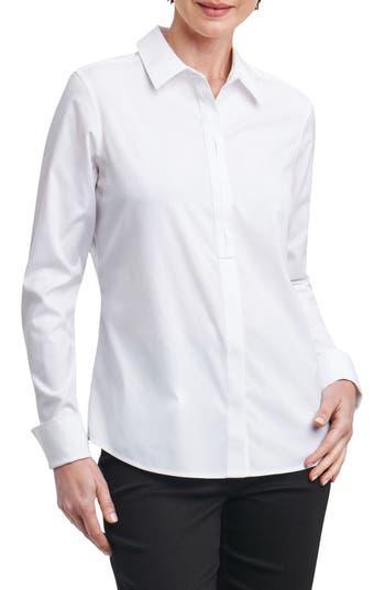 Foxcroft Elise Non-Iron Stretch Cotton Shirt, White