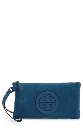 Tory Burch Charlie Suede Wristlet Clutch - Blue at NORDSTROM.com