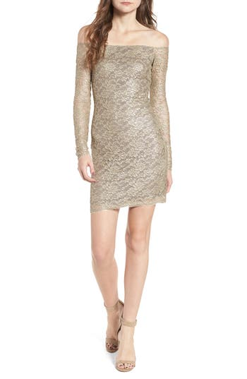 Bailey 44 Double Exposure Lace Sheath Dress, Metallic