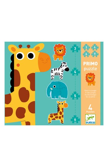 Toddler Djeco Primo Puzzle In The Jungle Set Of Four Puzzles