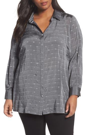 Plus Size Foxcroft Jade Metallic Clip Dot Shirt, Grey