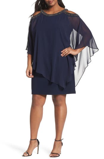 Plus Size Xscape Chiffon Overlay Dress, Blue