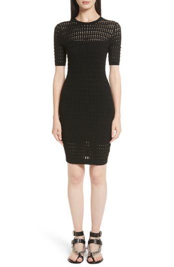 T By Alexander Wang Float Stitch Lace Dress, Black