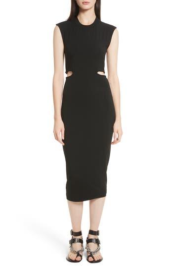 T By Alexander Wang Cutout Stretch Jersey Dress, Black