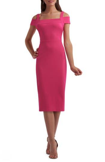Eci Cold Shoulder Ruffle Sheath Dress, Pink