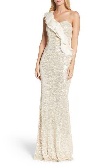 Badgley Mischka Ruffle Sequin One-Shoulder Gown, Beige