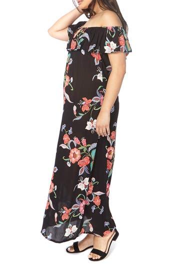 Plus Size Evans Convertible Floral Maxi Dress, US / 18 UK - Black