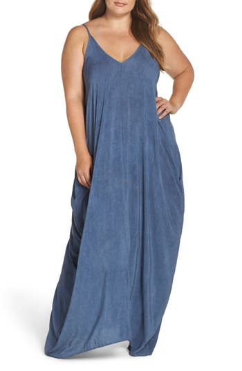 Plus Size Elan Cover-Up Maxi Dress, Blue