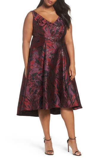 Plus Size Adrianna Papell Metallic Floral Jacquard Fit & Flare Dress, Red