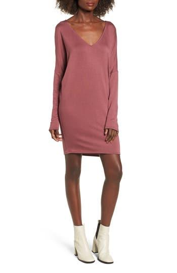 Bp. V-Neck Dress, Burgundy