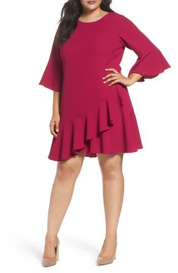 Plus Size Eliza J Ruffled Flounce A-Line Dress, Pink