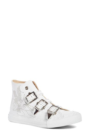 Chloe Kyle Stud Buckle High Top Sneaker, White