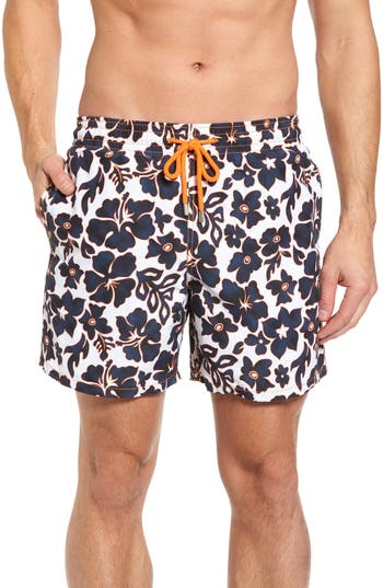 Vilebrequin Natural Flowers Swim Trunks, White