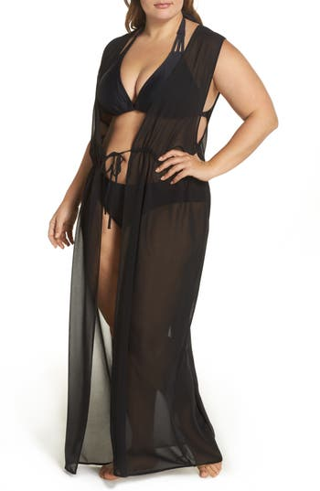 Plus Size Leith Sheer Cover-Up Maxi, Black
