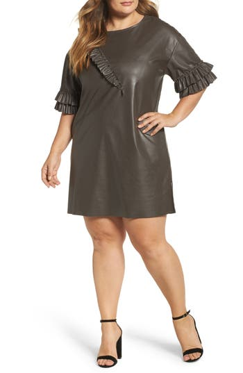 Plus Size Women's Elvi Ruffle Shift Dress, Size 10W US / 14 UK - Brown