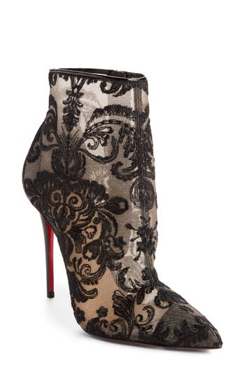 Christian Louboutin Lace Bootie - Black