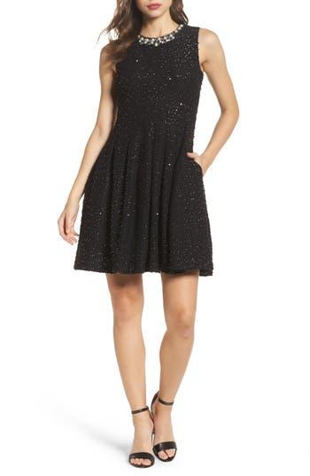Eliza J Jewel Fit & Flare Dress, Black