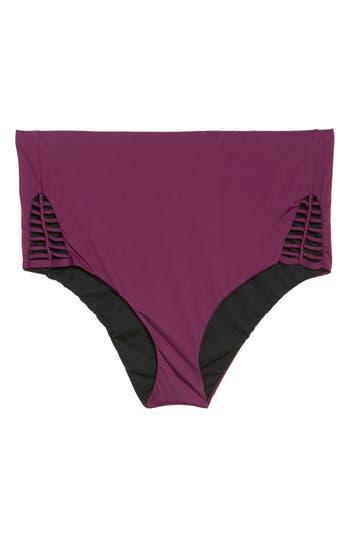 Plus Size Becca Etc. No Strings Attached High Waist Swim Briefs, Purple
