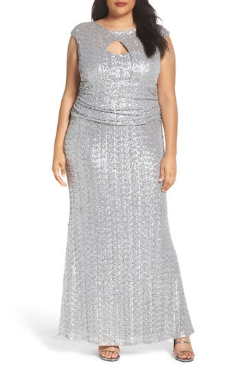 Plus Size Marina Cutout Sequin Lace Gown, Metallic