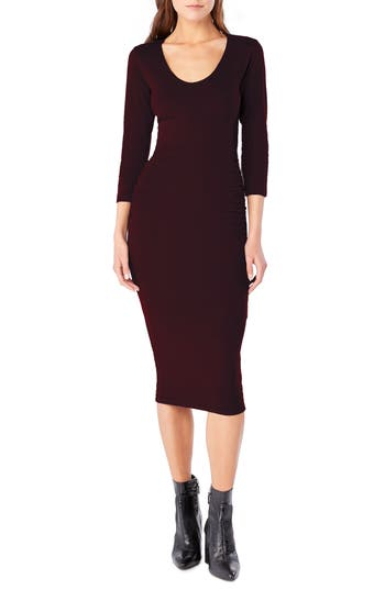 Michael Stars Ruched Midi Dress, Brown