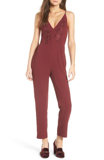 Leith Applique Jumpsuit, Red
