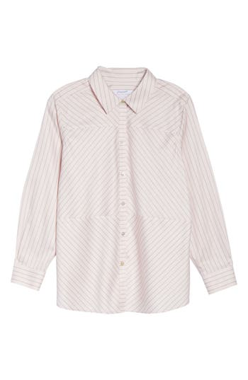 Plus Size Foxcroft Monica Classic Stripe Shirt, Pink
