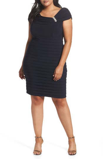 Plus Size Xscape Embellished Portrait Collar Shutter Pleat Cocktail Sheath Dress