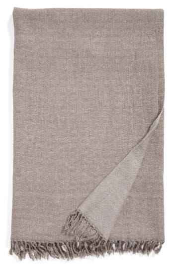 Modern Staples Blurred Herringbone Merino Wool Throw, Size One Size - Beige