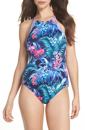 Tommy Bahama Majorelle Reversible One-Piece Swimsuit, Blue