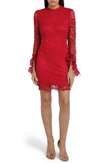Missguided Bell Sleeve Lace Minidress, US / 8 UK - Red
