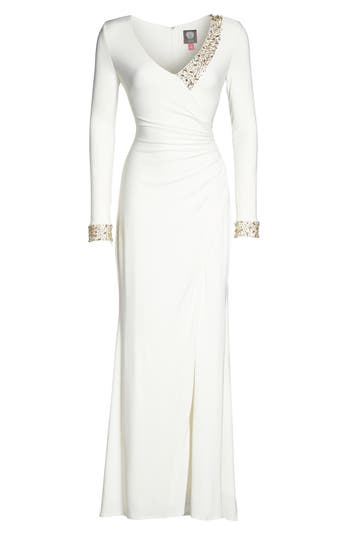 Vince Camuto Embellished Side Tuck Jersey Gown, Ivory