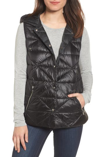 Bernardo Reversible Hooded Down & Primaloft Vest, Black