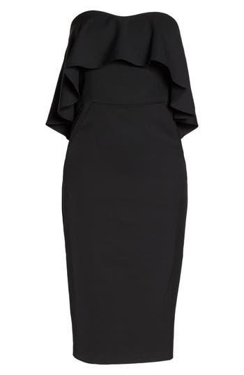 Chelsea28 Ruffle Stretch Crepe Sheath Dress, Black