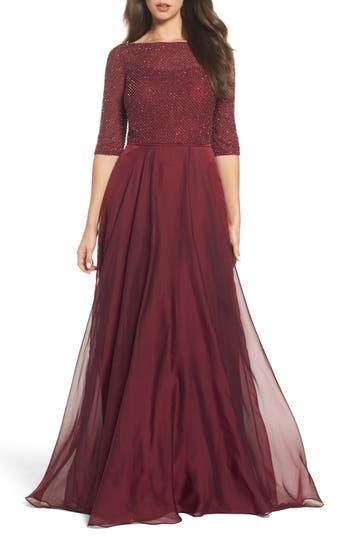La Femme Embellished Bodice Gown, Burgundy