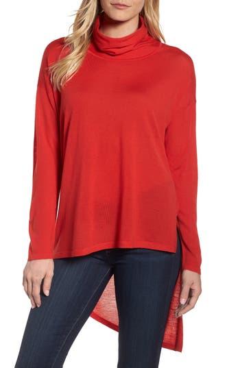 Eileen Fisher Asymmetrical Merino Wool Sweater, Red