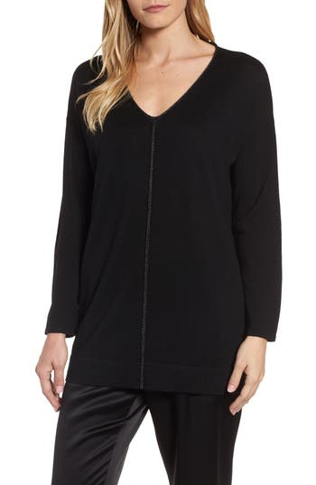 Eileen Fisher Metallic Trim Merino Wool Blend Sweater, Black