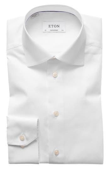 Men's Eton Contemporary Fit Twill Dress Shirt, Size 17.5 - White