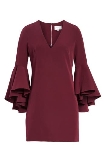 Milly Nicole Bell Sleeve Dress, Burgundy
