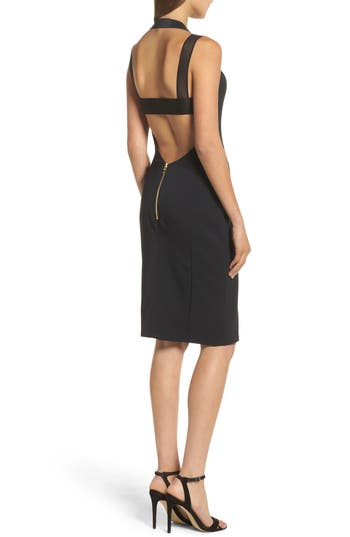 Maria Bianca Nero Kendra Elastic Strap Low Back Sheath Dress, Black
